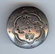 Vintage 1930's Navajo Indian Silver Stamped Thunderbirds Button