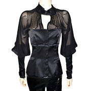 Tom Ford For Black Chiffon Silk Long Sleeve Vintage Corset Top Blouse