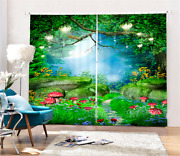 Fairy Tale Forest Stone Mushroom 3d Window Curtains Mural Blockout Drapes Fabric
