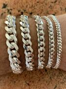 Mens Real Solid 925 Sterling Silver Miami Cuban Bracelet 4-12mm 6.5-9heavy Link