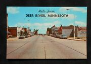 1960s Street View Old Cars Stores Signs Texaco Gas Station Deer River Mn Itasca