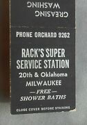 1940s Rackand039s Super Service Station 20th And Oklahoma Baths Milwaukee Wi Matchbook