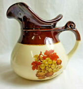 """Mccoy Usa Art Pottery Large Picture Vase Harvest Fruit And Nuts Brown 7"""" Signed"""