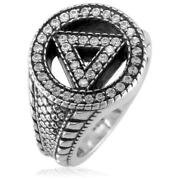 Alcoholics Anonymous Aa Sobriety Ring With Cubic Zirconias, Reptile Texture, And