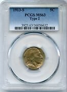 1913-s Indian Head Buffalo Nickel Pcgs Ms63 Type 2 Coin 5c - Jd367