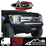 Add Honeybadger Front Winch Bumper Black For 17-21 Ford Super Duty F250 F350