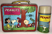 Peanuts Metal Lunchbox And Thermos 1973 Psychiatric Help Lot 331