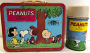 Peanuts Metal Lunchbox And Metal Thermos 1973 Lot 330
