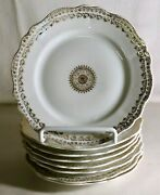 8 O.and E.g. Royal Austria Gold Decorated Porcelain 6 1/4 Bread And Butter Plates
