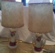 1940's 2 China Lamps Roses Swan Handles Gold Accents Ruby Signed By Worrall
