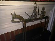 Vintage 18 Bronze Brass Dogon Horse With Pair Of Warriors