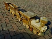 Vintage Wooden Handmade Toy Train Engine Carriage Home Decor Over 180 Cm / 71''