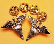 Medical Parachute Officer Collar Silver Pins Us Army Airborne Medic Insignia Lot