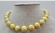 Huge1813-17mm Natural South Sea Genuine Gold Round Pearl Necklace Aa8089