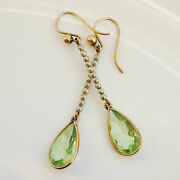 Stunning Antique Edwardian 9ct Gold Peridot And Pearl Drop Earrings C1905