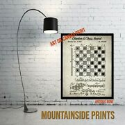 1923 Checker And Chess Board Patent Art Print - Game Room Decor - Antique Game