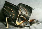 Charlotte Russe Black High Heel Lace Open Toe Lady Shoes Size 8