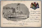 Postcard Ontario Canada C1907 S.s. Kingston Paddle Steamer Richelieu And Ontario