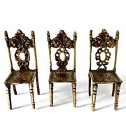 Lot Of 3 Antique Vintage Miniature Brass Chairs Doll House Size Victorian Style