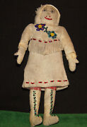 Antique 1800and039s Native American Indian Doll Athabascan Tlingit Leather And Calico