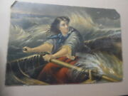 C.1880 Grace Darling By Thomas Brooks Faux Oil Painting Print Victorian Heroin