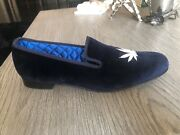 Matthew Cookson Velvet Navy Loafer With Silver Cannabis Leaf 12.5