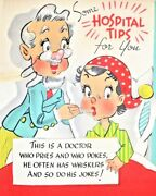 1940 Vintage Get Well Gibson Greeting Card Doctor Girl Hospital Tips - Scrapbook
