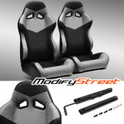 2 X Black/grey Pvc Leather Left/right Reclinable Racing Bucket Seats + Slider