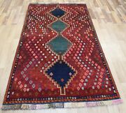 Old Handmade Persian Rug With Great Design And Superb Colour 210 X 115 Cm