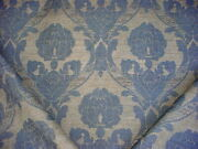 9-3/4y Stroheim Blue / Sand Floral Damask Strie Drapery Upholstery Fabric