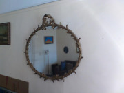Antique Round Wall Mirror Rococo Style Hand Painted Wooden Frame