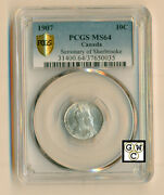 1907 Canada Seminary Of Sherbrooke 10cents Coin Pcgs Graded Ms64