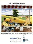 1947 Evervess Print Ad Water Steven Dohanos Art Private Plane Parked Frame It