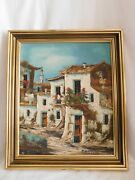 Castello View Village The South Oil On Canvas Frame Wood Golden With Sheet