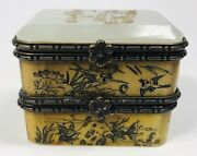 Antique 1920s Chinese Hand-engraved Jade And Bone Double Jewelry Box