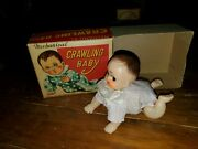 Vintage 1950and039s Haji Celluloid/vinyl Wind-up Mechanical Crawling Baby Box Working