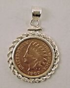Coin Jewelry Vintage Indian Cent Pendant Rope Sterling Silver Bezel Solder Bail