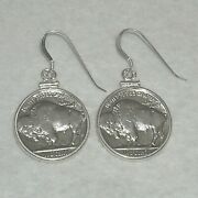 Coin Earrings Authentic Vintage Buffalo Nickel Coins .925 Sterling Silver Bezels