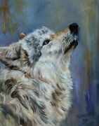 White On Gray Oil On Canvas 20x16 Gorgeous Close-up Of An Alpha White Wolf Head