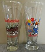 1987 Bud Light Spuds Mackenzie And 1989 Budweiser Clydesdale Pilsner Glass