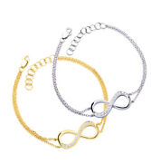 14k Solid White Or Yellow Gold Infinity Natural Diamond Birthstone Bracelet