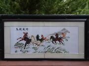 Large Vintage Chinese Embroidered Silk Panel 8 Horses Embroidery Framed