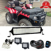 12 Inch Led Light Bar Offroad Roof+wiring For Polaris Rzr 570 800 900 Xp1000