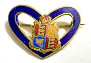 Vintage Wwi Rare Sweetheart Pin Royal Coat Of Arms Of United Kingdom Enameled