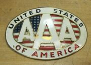Old Aaa United States Of America Brass Enamel License Plate Topper Badge Sm Sign