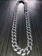 Mens Iced Miami Cuban Link Chain 14k Rhodium Finish Bling Out Bust Down Jewelry