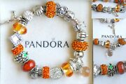 Authentic Pandora 925 Sterling Silver Bracelet With Turkey Wine Fall Charm Beads