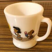 Fire King Tanned Snoopy Milk Coffee Mug Hand Made Genuine Unused F/s From Japan