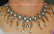 9.06ct Polki Rose Cut Diamond Antique Look 925 Silver Earring Necklace Set