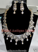 18.50ct Polki Rose Cut Diamond Antique Look 925 Silver Earring Necklace Set